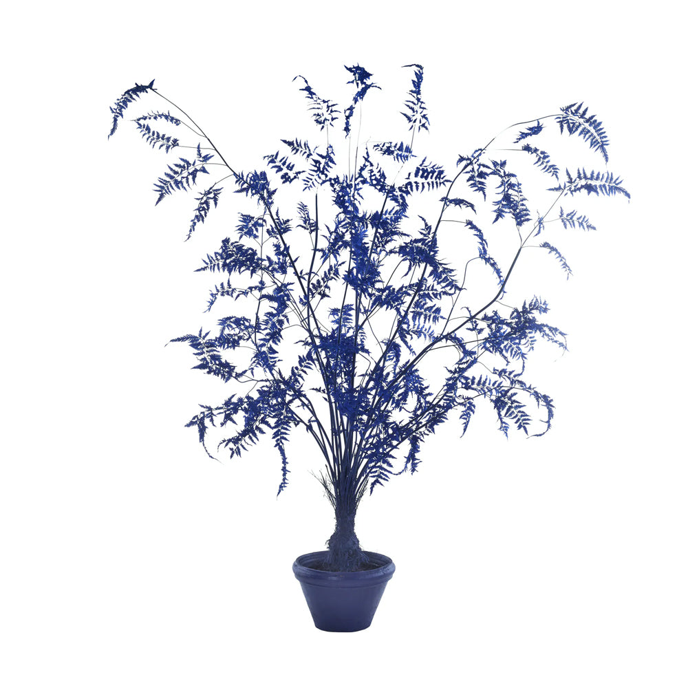 Pols Potten Laurelina Pot Plant with Blue Fabric Leaves and Clay Pot