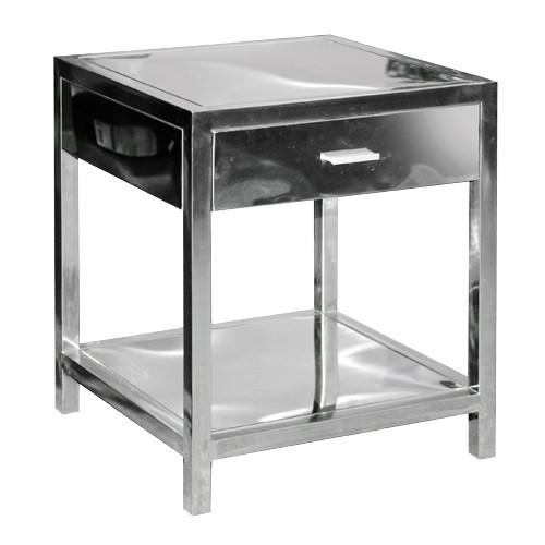Lexington Polished Silver Metal Side Table