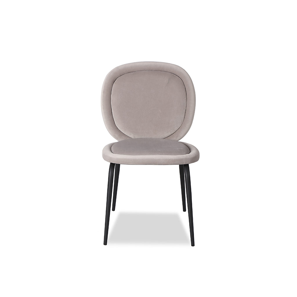 Liang & Eimil Belux Dining Chair in Kaster Light Grey Velvet (Set of 2)