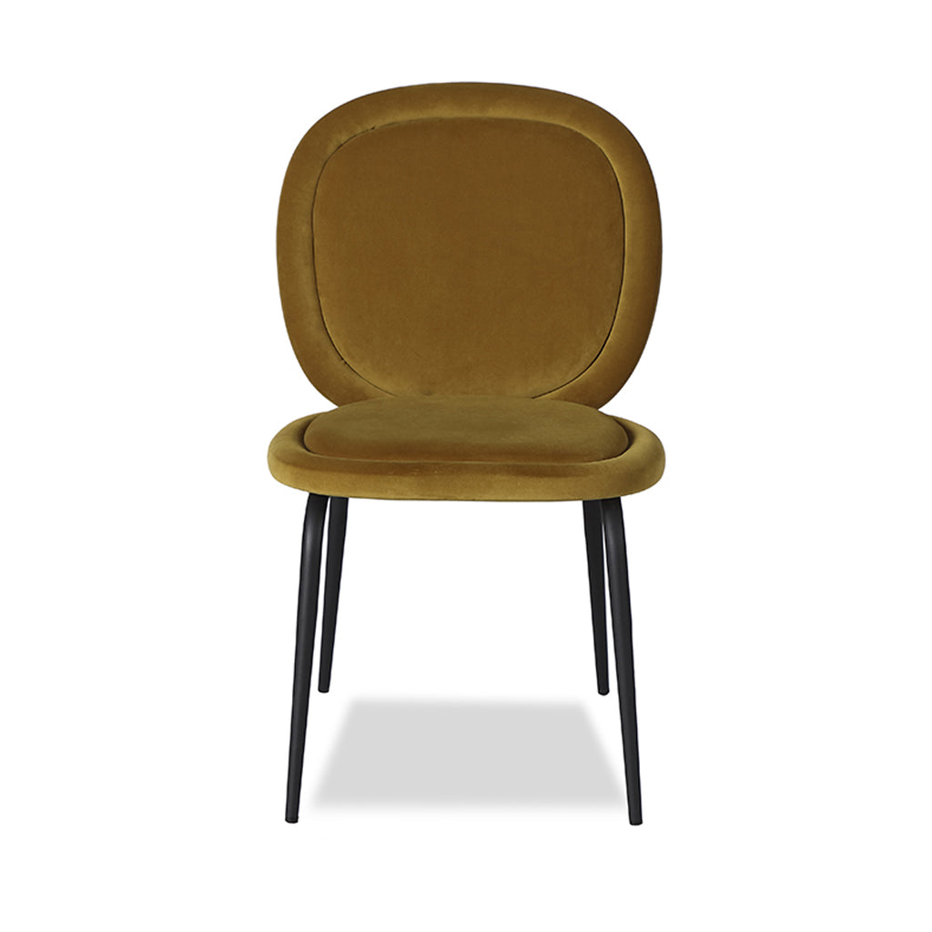 Liang & Eimil Belux Dining Chair in Kaster Mustard Velvet (Set of 2)
