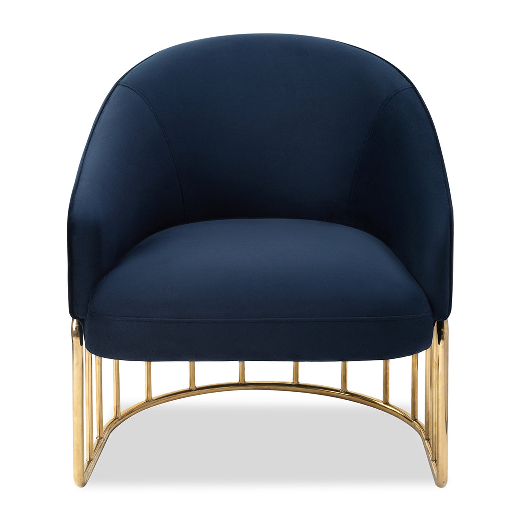 Liang & Eimil Boston Occasional Chair In Deep Navy Velvet Fabric