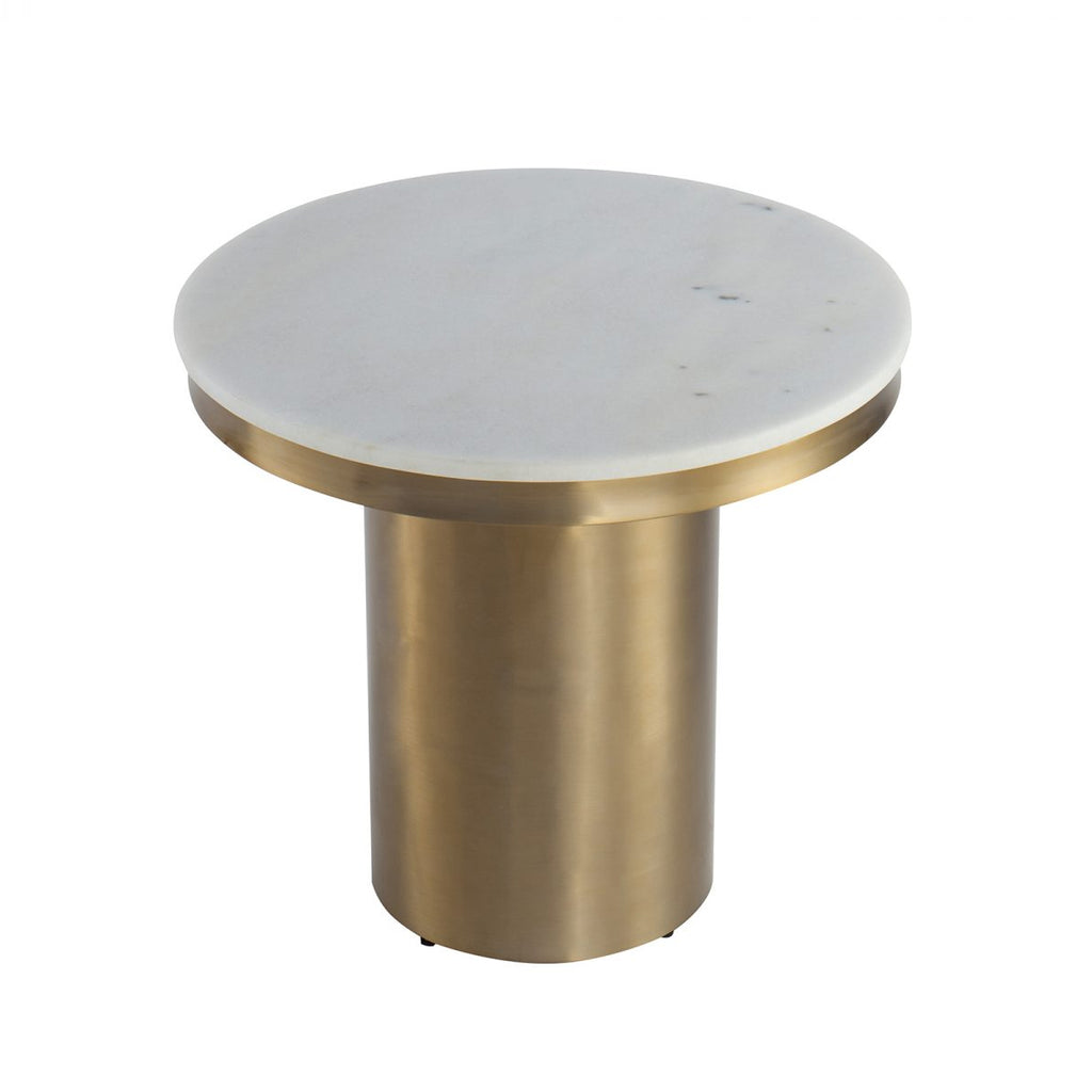 Liang & Eimil Camden Side Table in White Marble & Brass