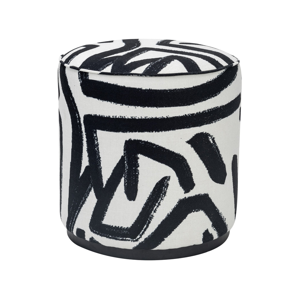 Liang & Eimil Chaple Stool with Graphic Black and White Fabric