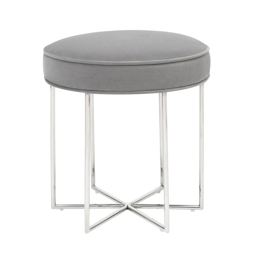 Liang & Eimil Colin Stool in Kaster Horizon Grey Velvet