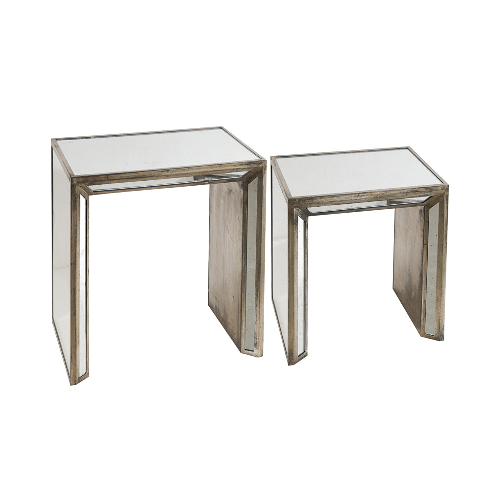 Liang & Eimil Decorum Nest of Tables with Antique Mirror Silver Distressed Finish