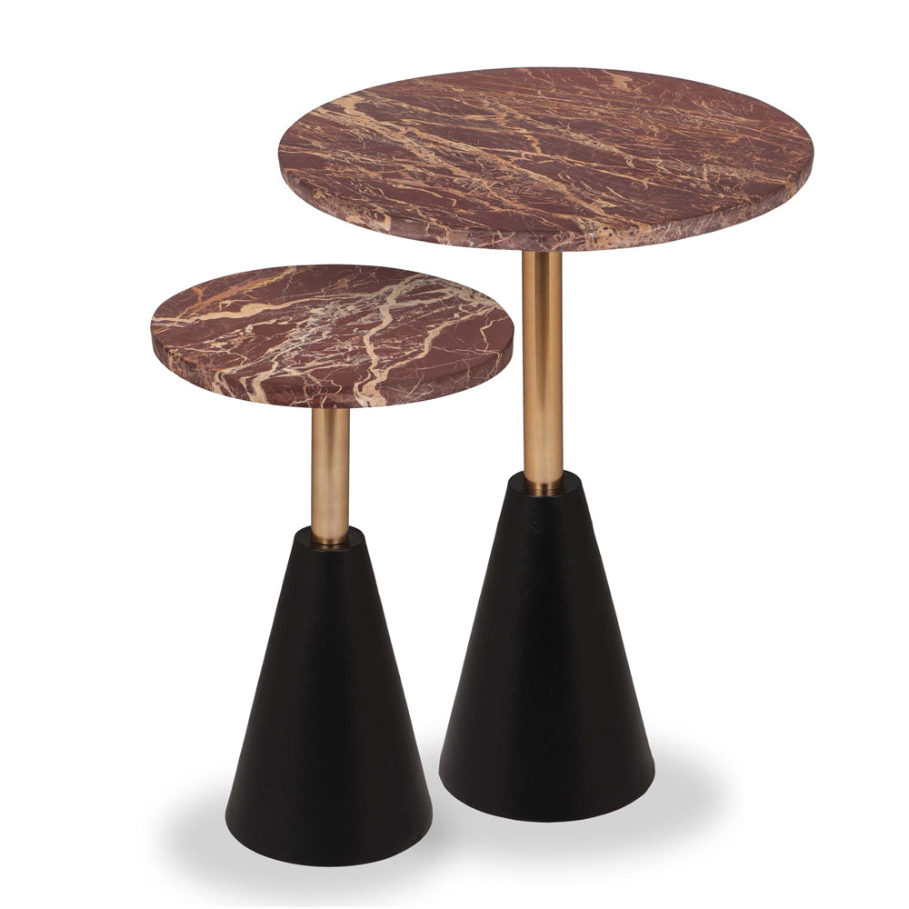 Liang & Eimil Ethan Side Tables (Set of 2) with Brown Marble and Polished Brass