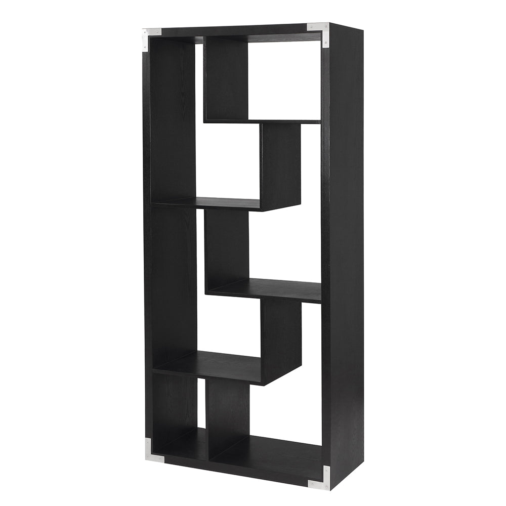 Liang & Eimil Genoa Shelving Unit with Black Ash Veneer and Polished Stainless Steel