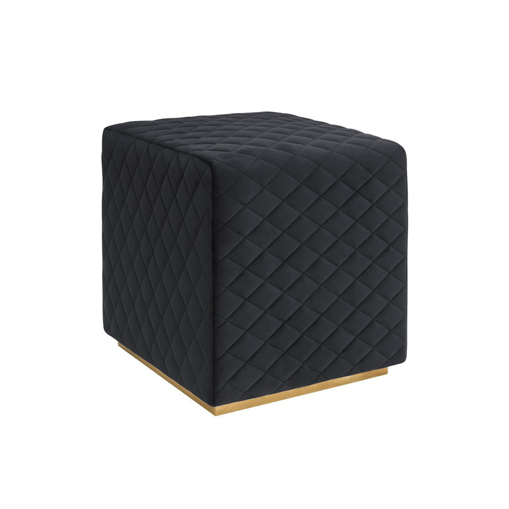 Liang & Eimil Giles Stool in Pitch Black Velvet