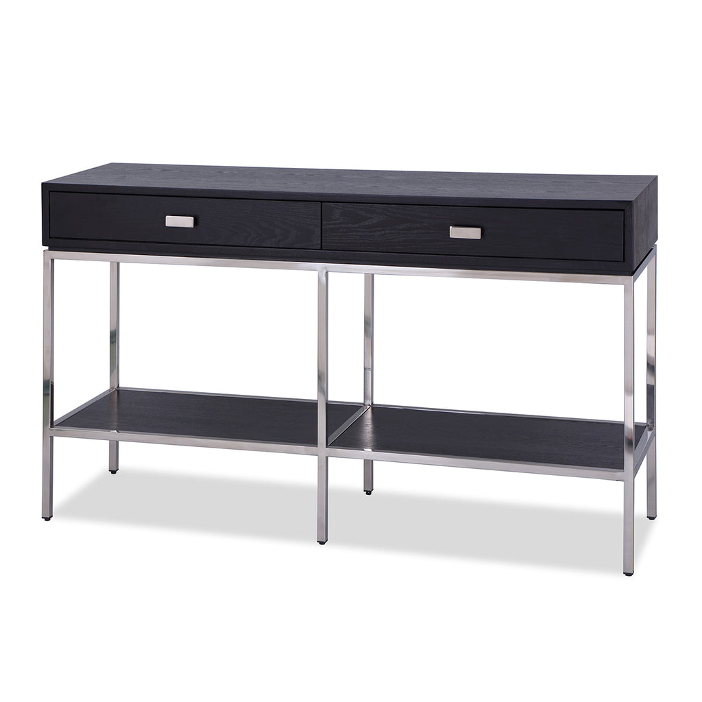 Liang & Eimil Levi Console Table with Black Ash Veneer and Stainless Steel