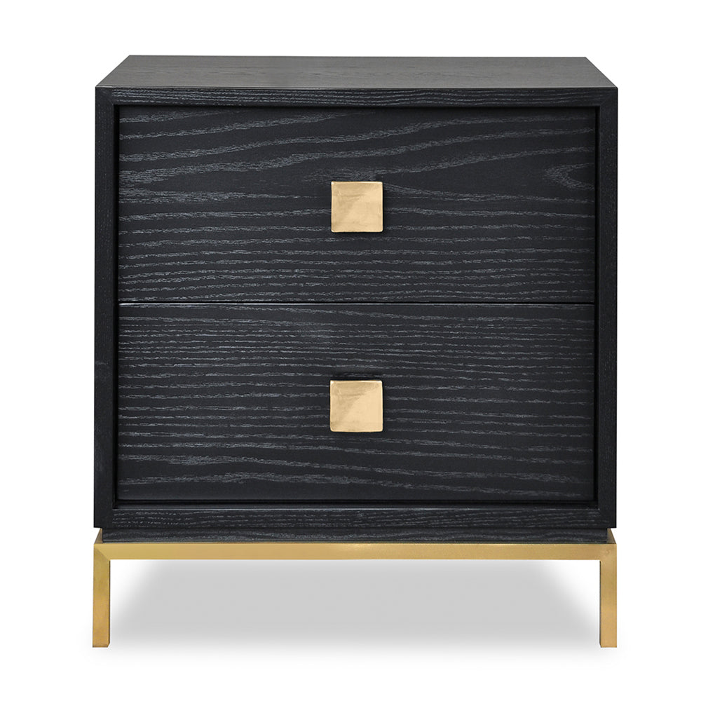 Liang & Eimil Lille Bedside Table with Oak Veneer and Brushed Brass