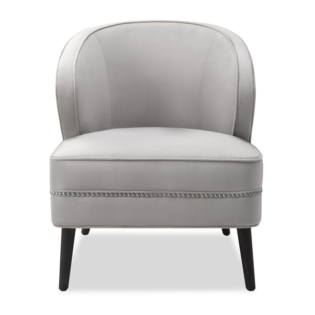 Liang & Eimil Lindsay Occasional Chair in Fog Grey Velvet Fabric
