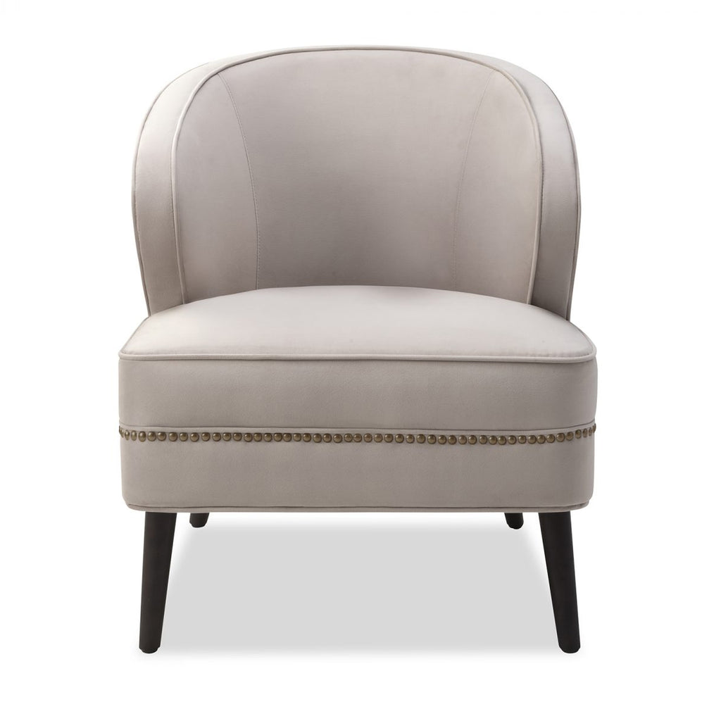 Liang & Eimil Lindsay Occasional Chair In Limestone Velvet Fabric