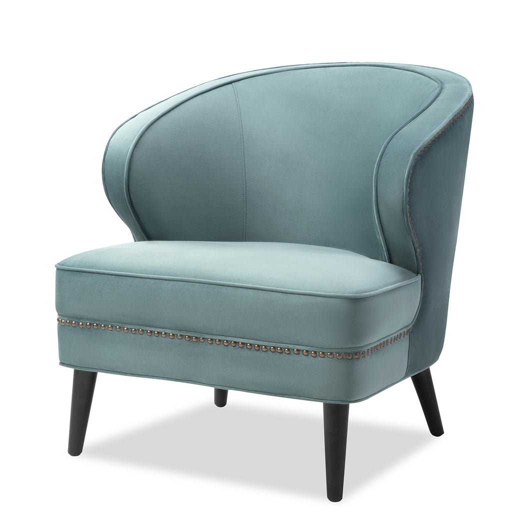 Liang & Eimil Lindsay Occasional Chair in Turquoise Velvet Fabric