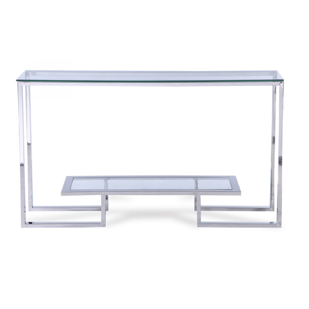 Liang & Eimil Mayfair Console Table with Glass and Polished Stainless Steel