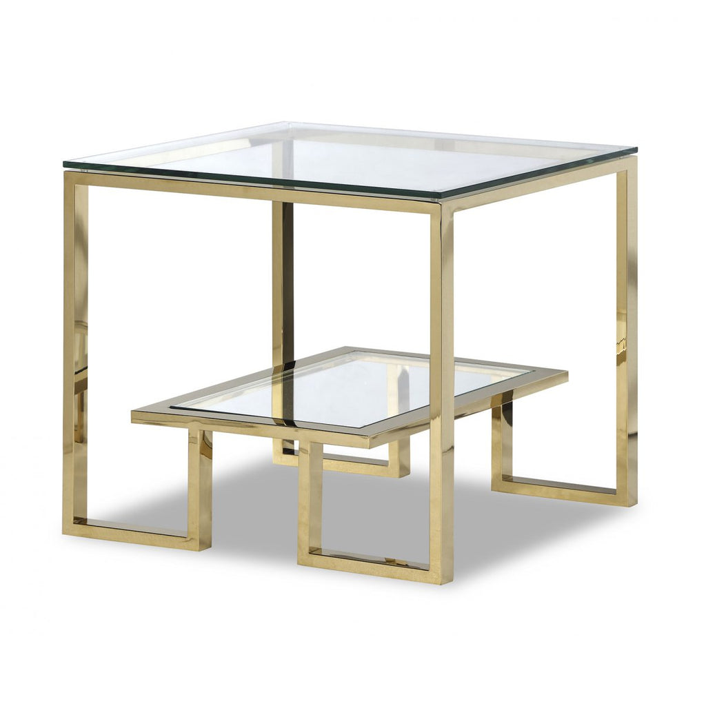 Liang & Eimil Mayfair Gold & Glass Side Table
