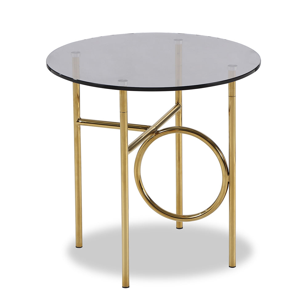 Liang & Eimil Memoire Large Side Table with Smoked Glass and Polished Brass