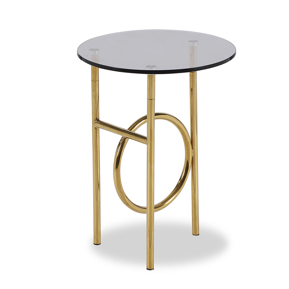 Liang & Eimil Memoire Side Table with Smoked Glass and Polished Brass