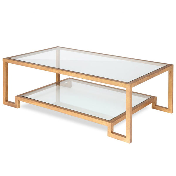 Liang & Eimil Ming Antiqued Gold & Glass Coffee Table
