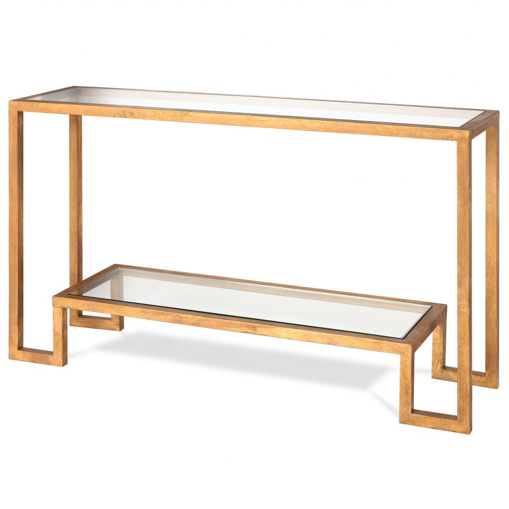 Liang & Eimil Ming Antiqued Gold & Glass Console Table