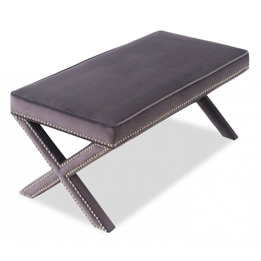 Liang & Eimil Night Grey Velvet Alvar Bench