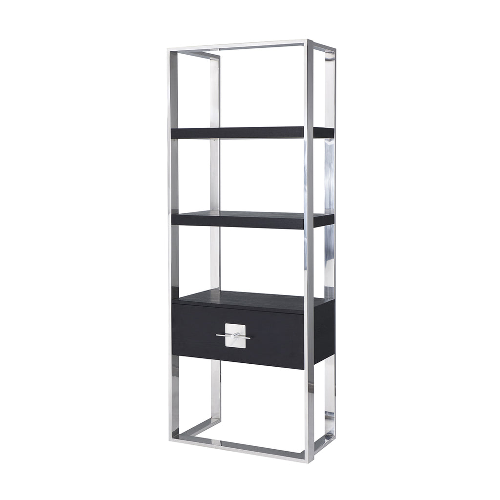Liang & Eimil Ophir Shelving Unit with Black Ash Veneer and Stainless Steel
