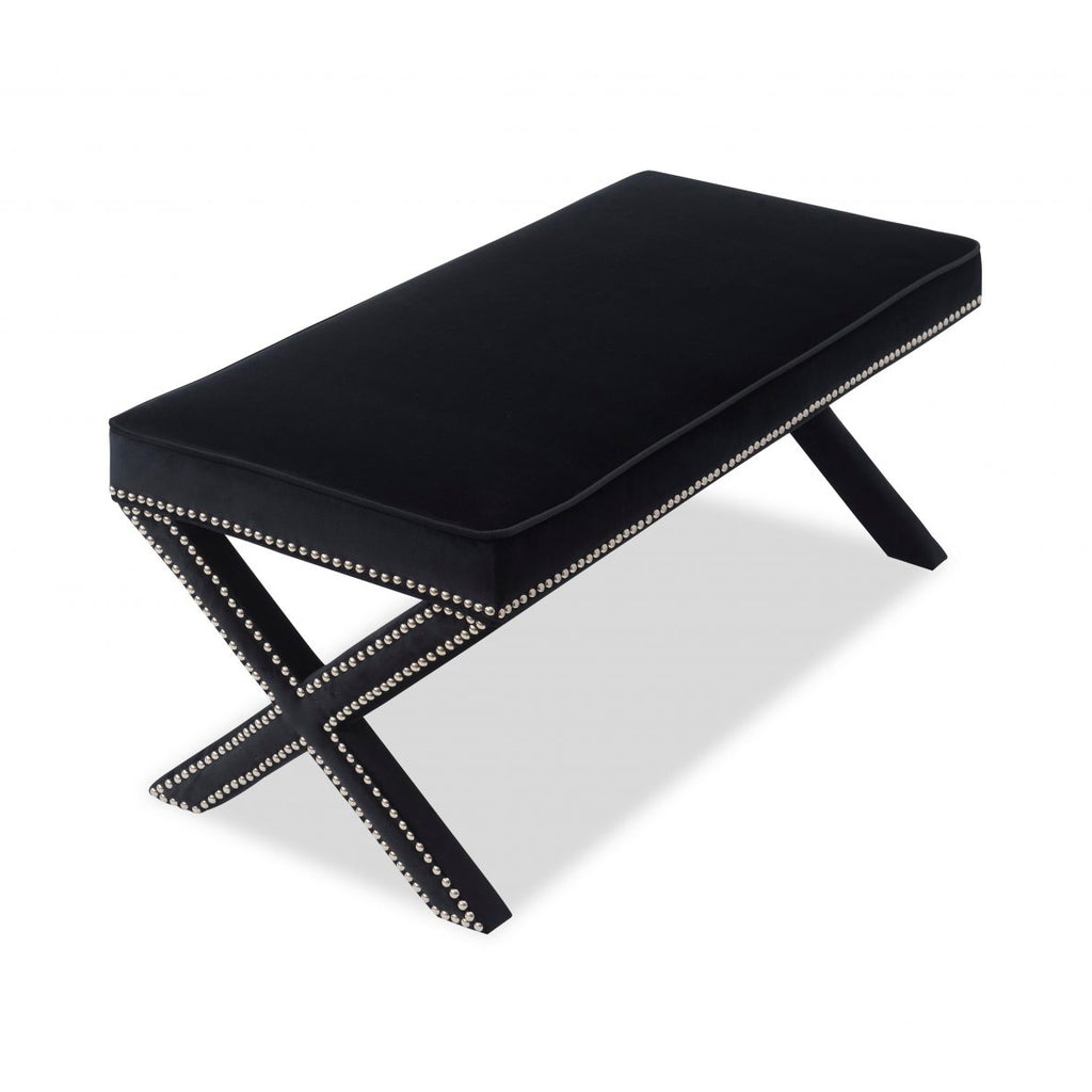Liang & Eimil Pitch Black Velvet Alvar Bench