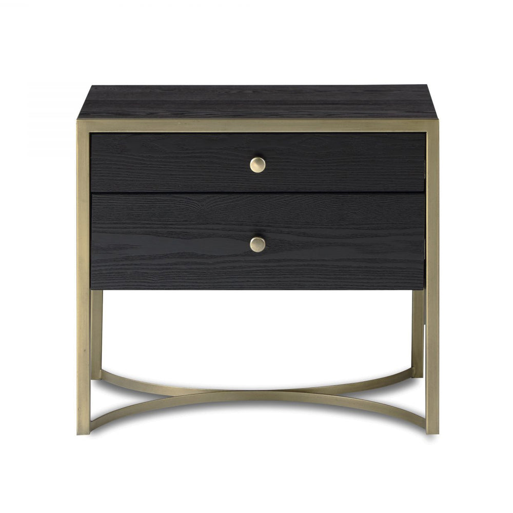 Liang & Eimil Rivoli Bedside Table with Black Ash Veneer and Brass