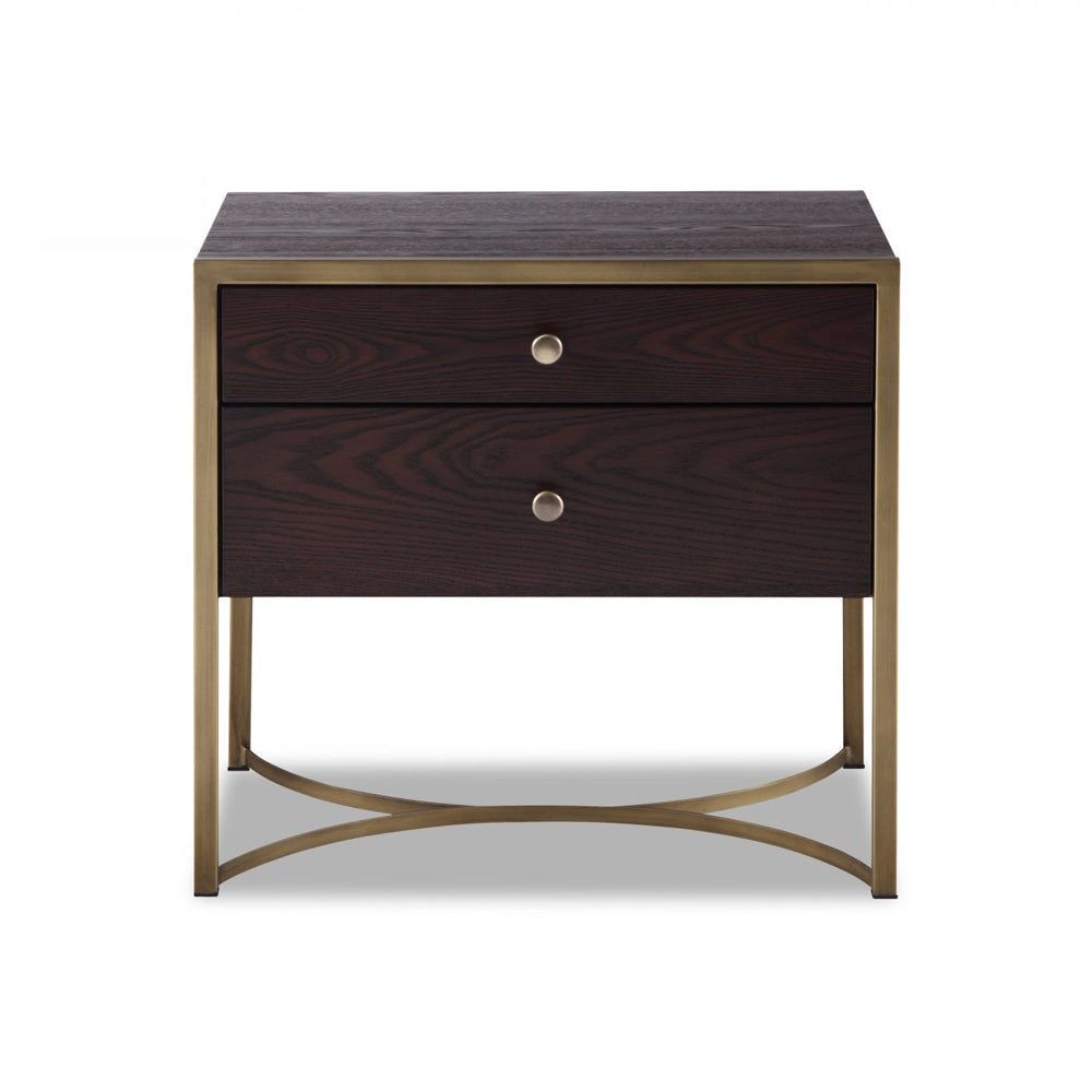 Liang & Eimil Rivoli Bedside Table with Chocolate Brown Ash Veneer and Brass