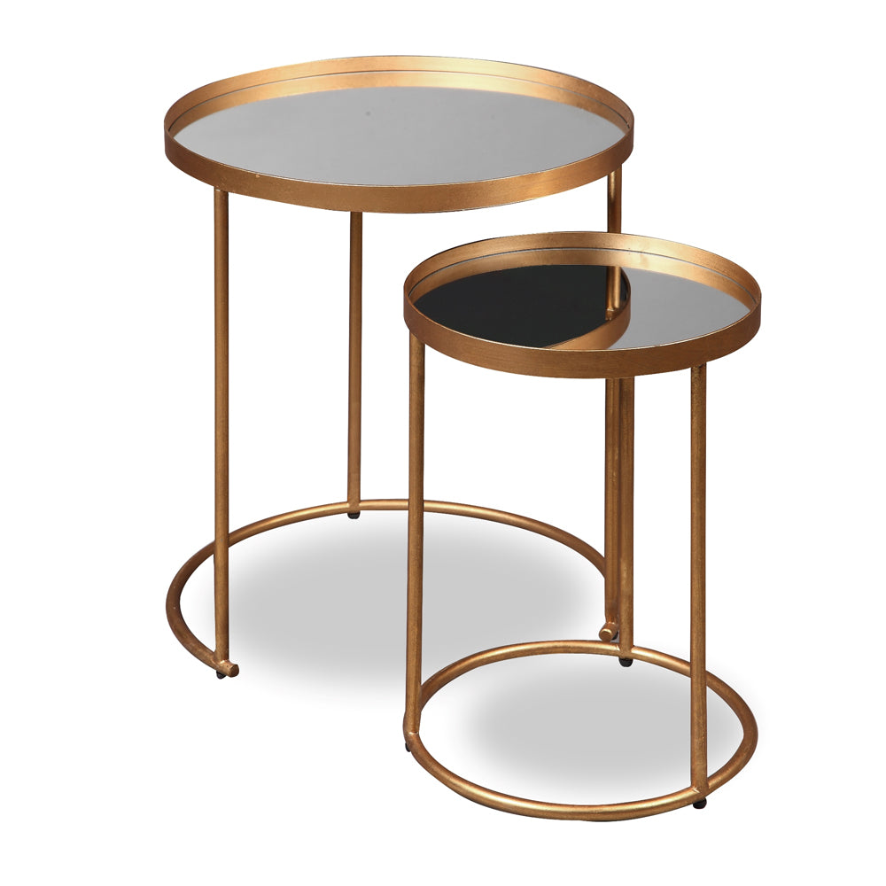 Liang & Eimil Song Side Tables (Set of 2) with Mirror Tops and Antique Gold