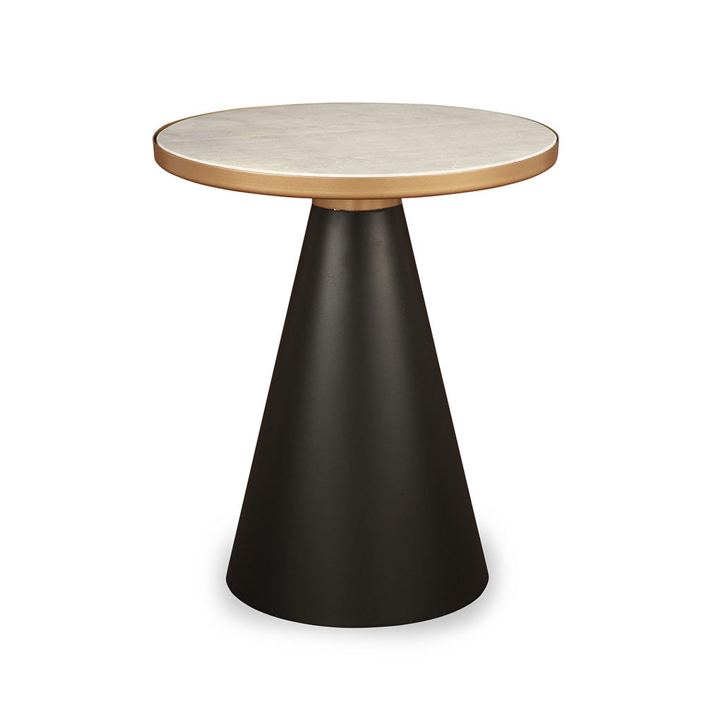 Liang & Eimil Tamon Side Table with Matt Black Iron and Marble