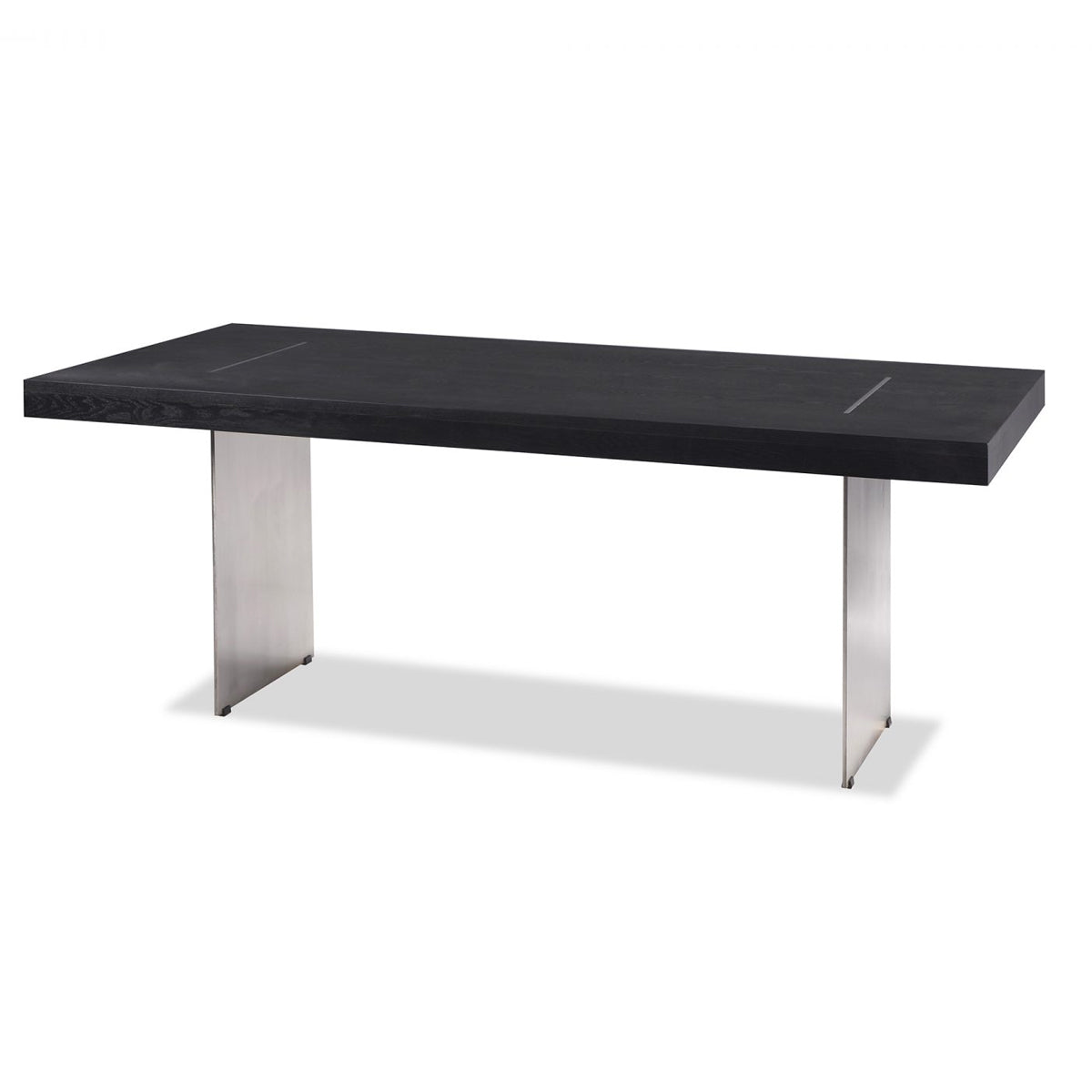 Liang Eimil Unma Dining Table In Black Ash With Stainless Steel Shropshire Design