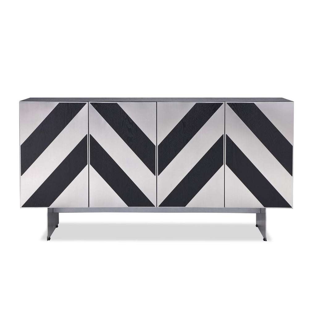 Liang & Eimil Unma Sideboard in Black Ash & Stainless Steel Chevrons