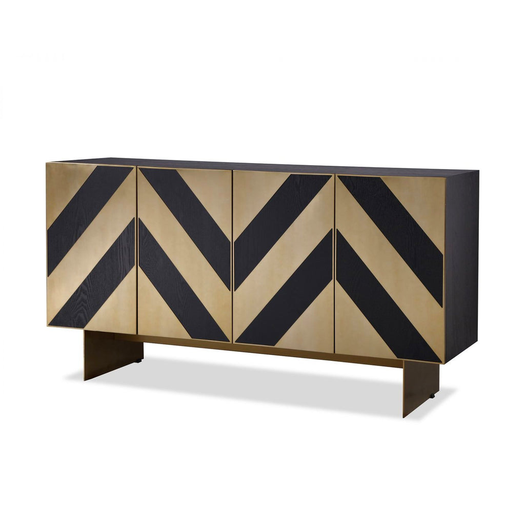 Liang & Eimil Unma Sideboard in Black Ash & Brass Chevrons