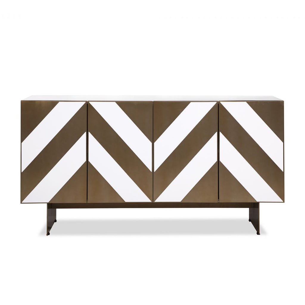 Liang & Eimil Unma Sideboard in White & Brass Chevrons