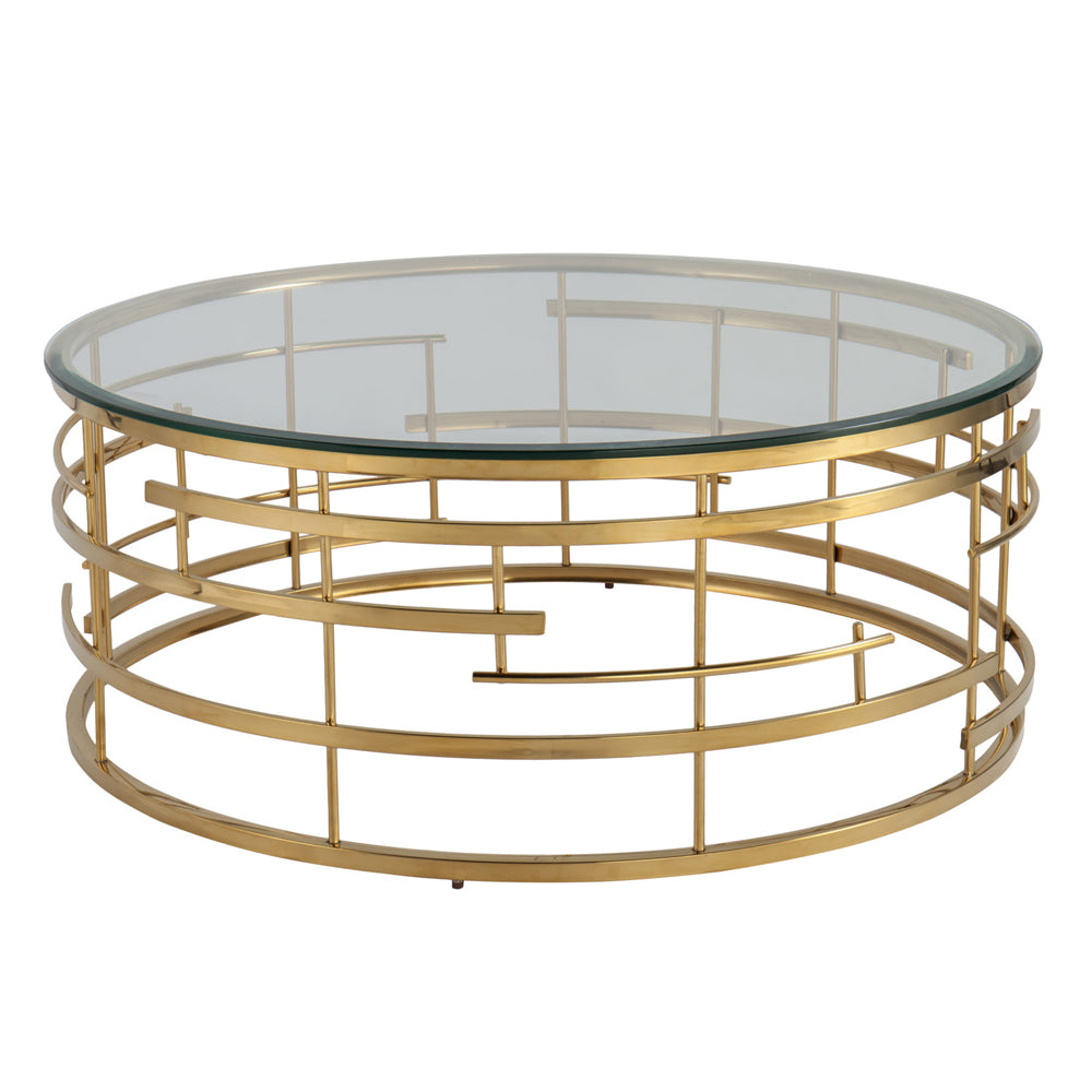 Liang & Eimil Viena Coffee Table with Glass and Polished Brass