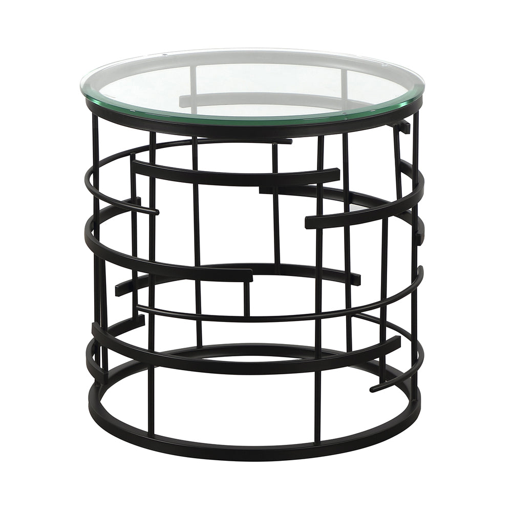Liang & Eimil Viena Side Table with Glass and Matt Black Steel