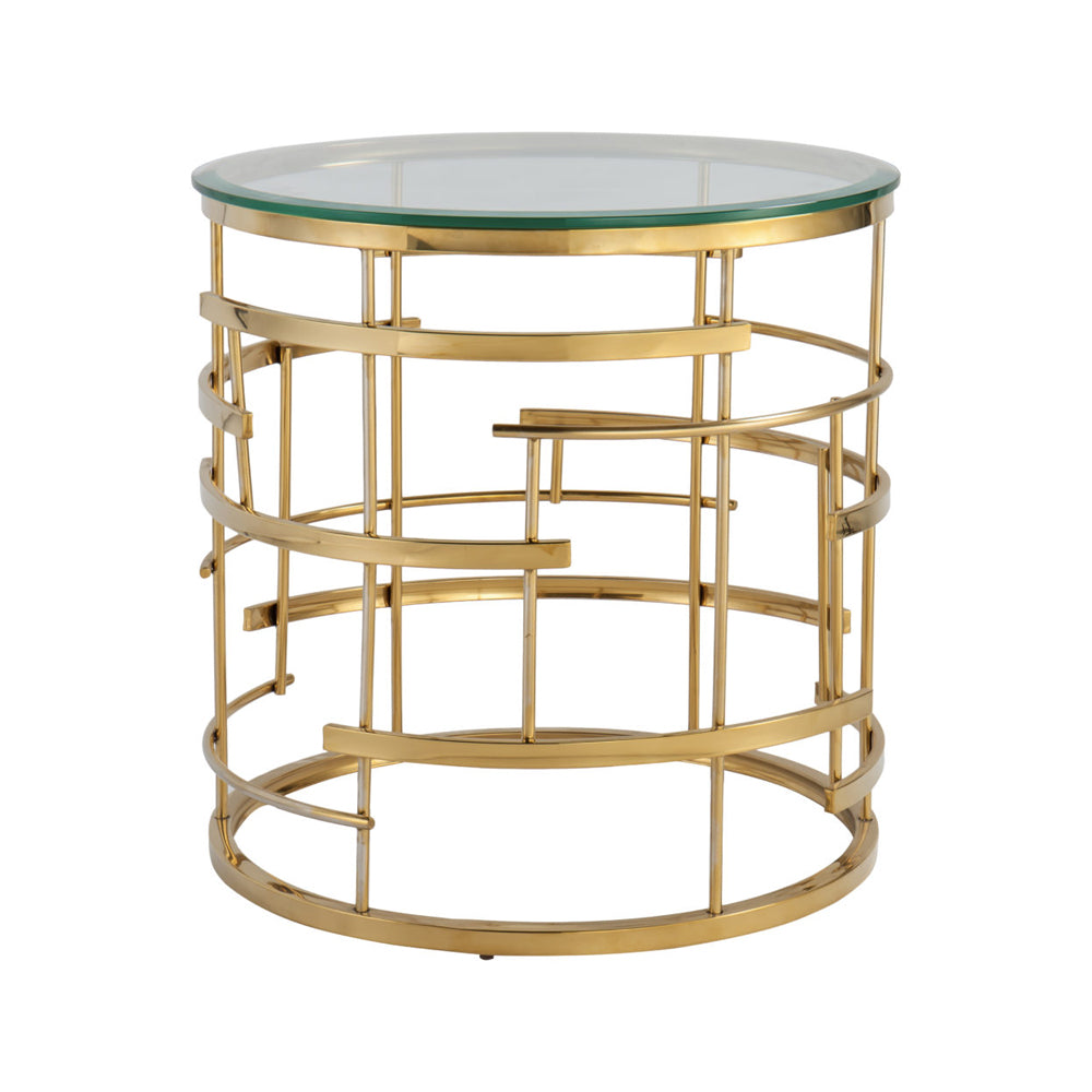 Liang & Eimil Viena Side Table with Glass and Polished Brass