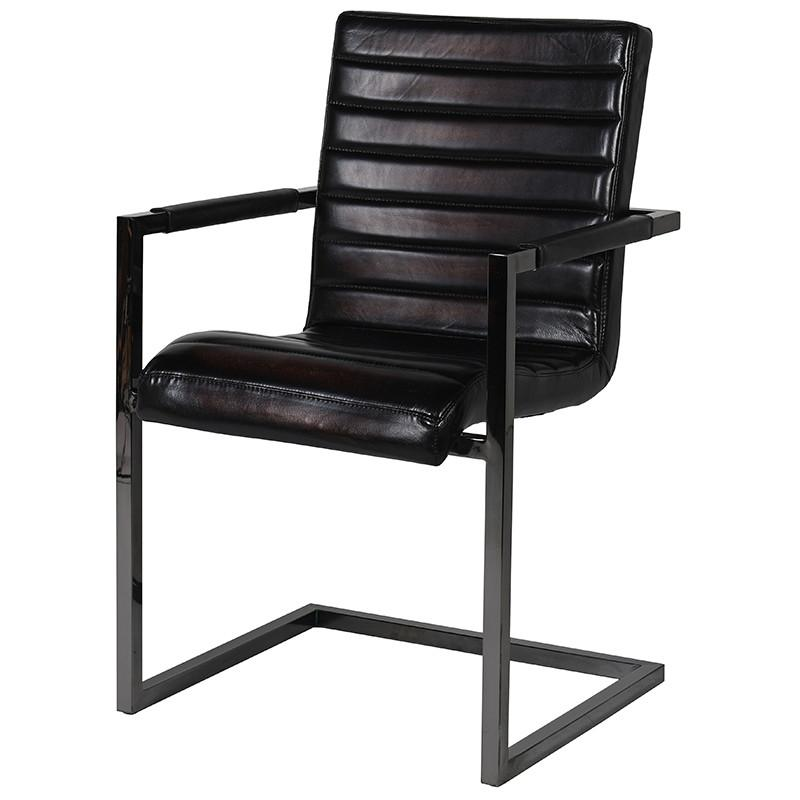 Ligurto Liquorice Leather Carver Chair
