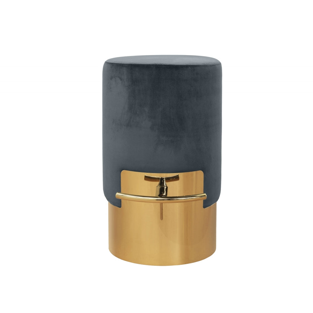 Lissia Bar Stool in Gold Metal and Warm Grey Velvet