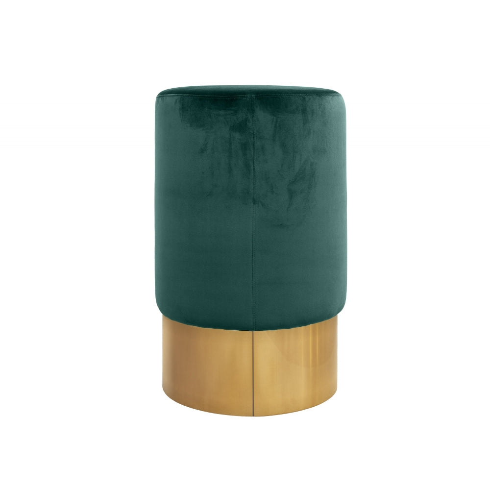 Lissia Bar Stool in Gold Metal and Willow Green Velvet