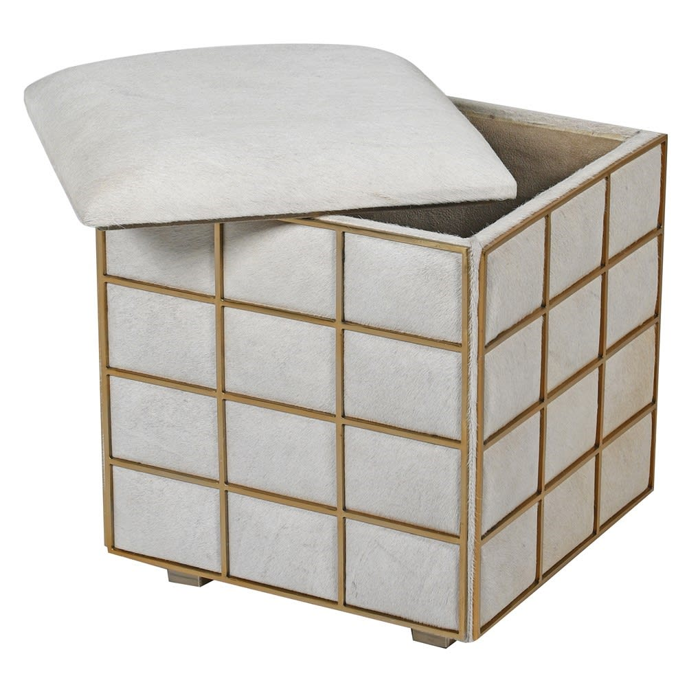 Los Alamos Storage Stool with White Leather and Brass