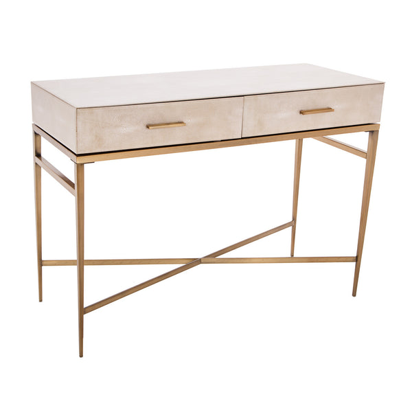Lucile Taupe Shagreen & Gold Console Table