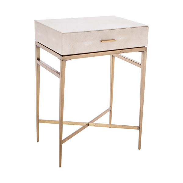 Lucile Taupe Shagreen & Gold Side Table