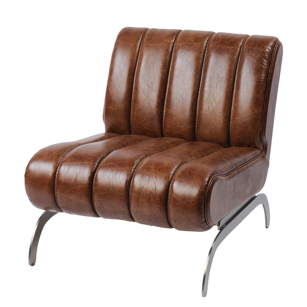 Lucius Retro Brown Leather Occasional Chair