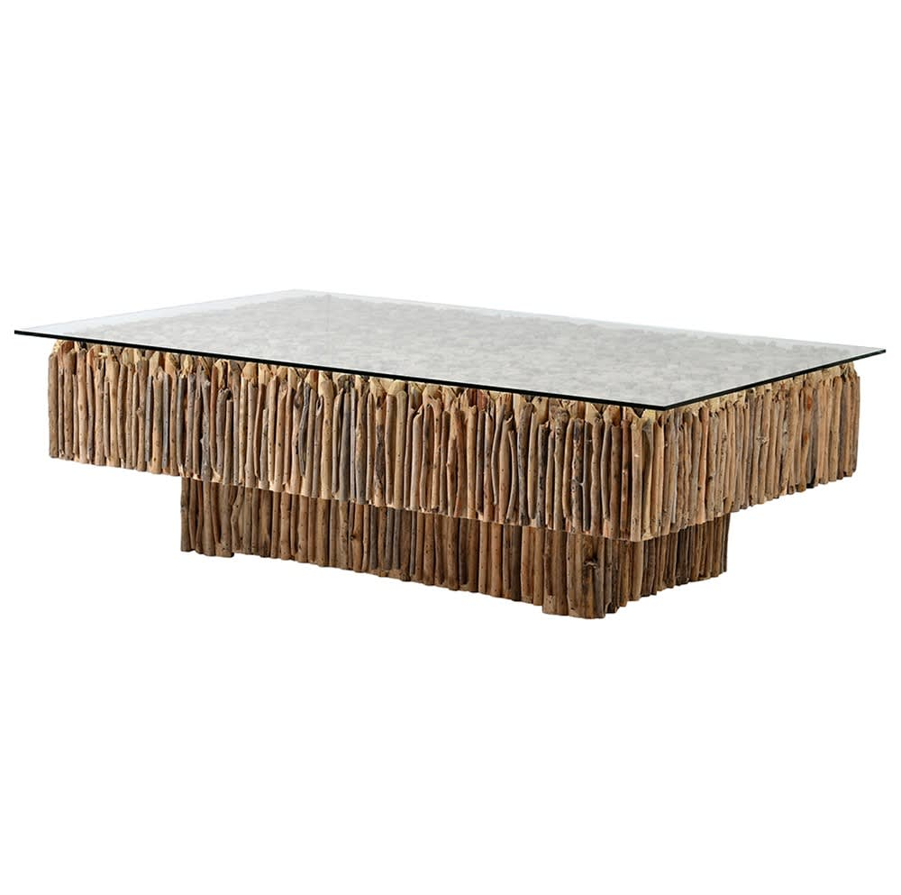 40 Square Driftwood Coffee Table: Maine Large Driftwood & Glass Coffee Table