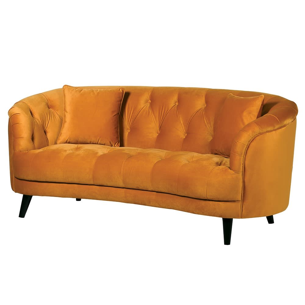 Marabel Curved Sofa in Mustard