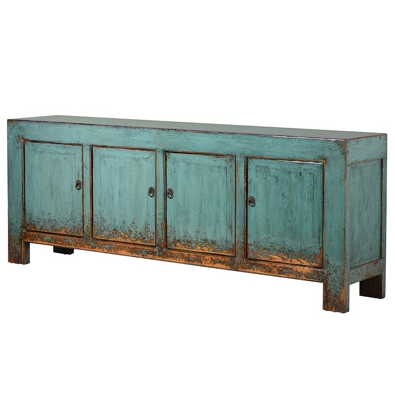 Lingbao Peacock Wide Turquoise Sideboard Cabinet