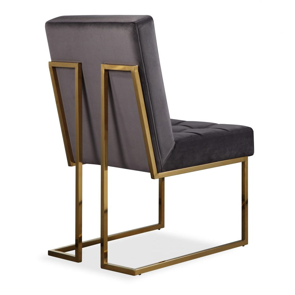 Liang & Eimil Warhol Dining Chair in Night Grey Velvet Fabric & Gold - Open Box Return