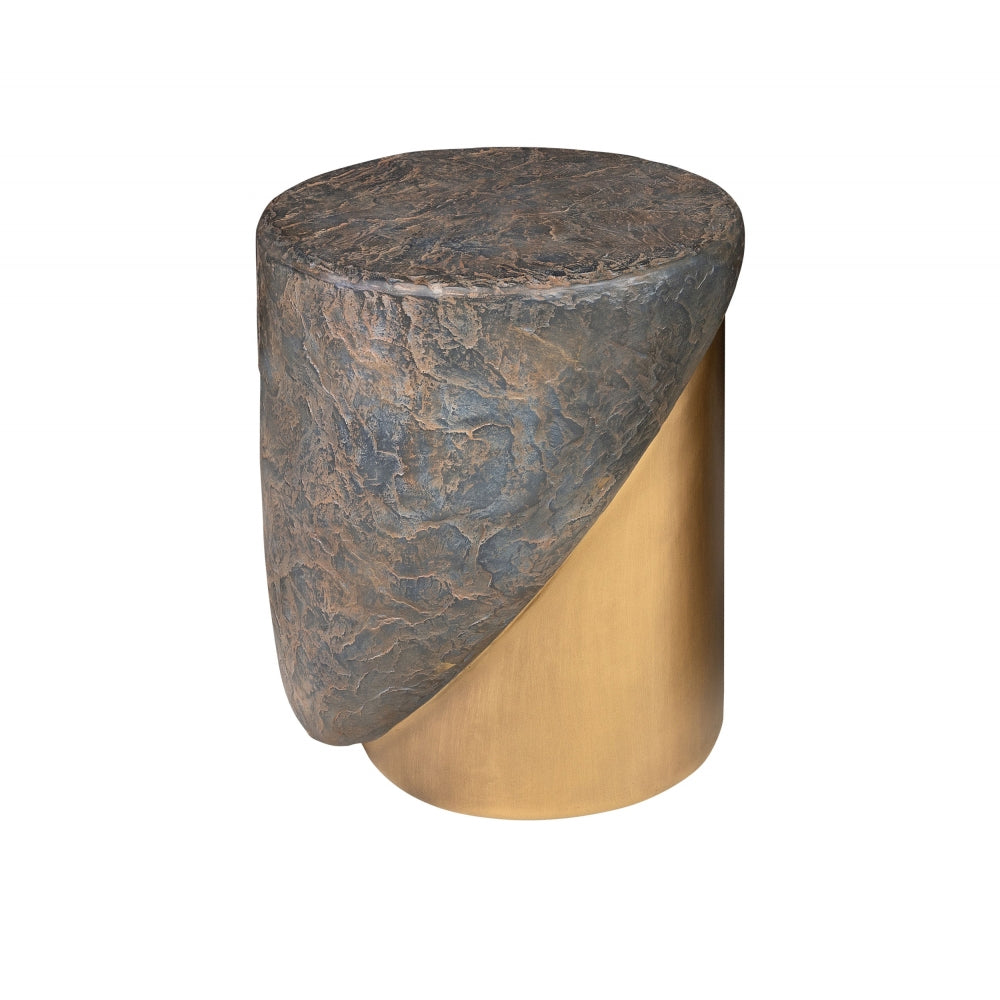 Mellin Stool in Brown Slate and Brushed Brass Effect