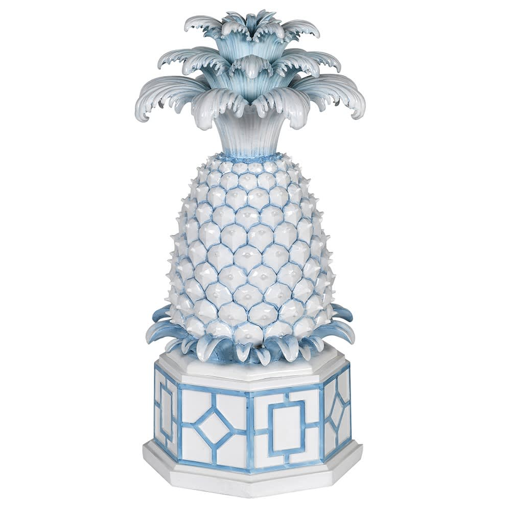 Mercurius Pineapple Box in Blue and White Resin